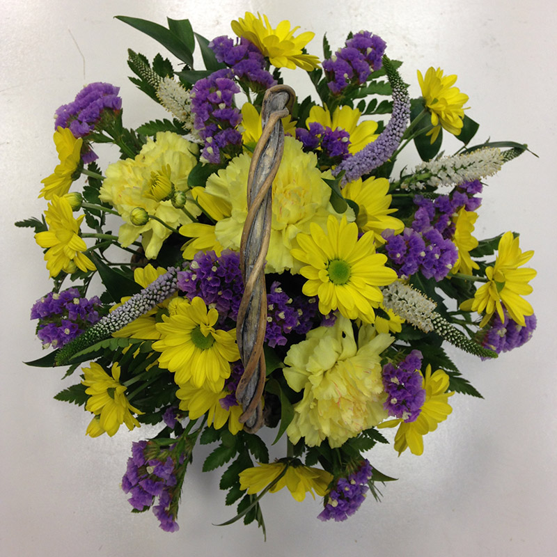Small floral basket arrangement, Alton