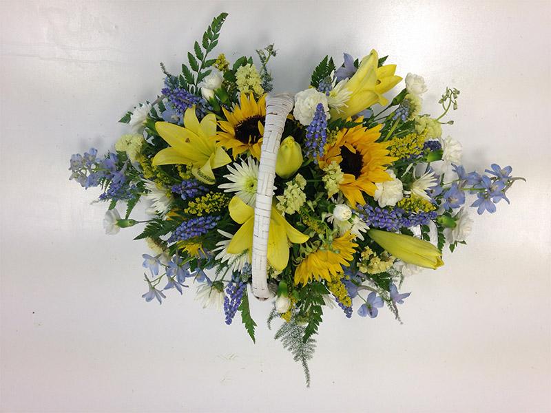Spring Time Floral Basket Arrangement