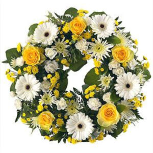 12 inch Yellow and White Wreath