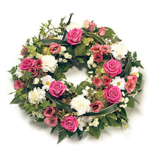 14 inch Pink and White Wreath